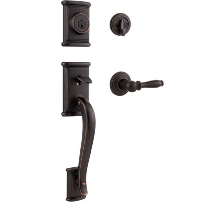 Ashfield Handleset with Ashfield Lever - Deadbolt Keyed One Side - featuring SmartKey