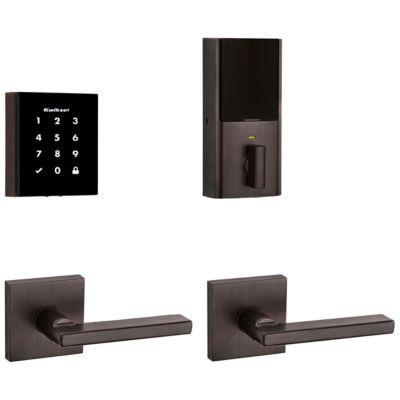 Obsidian Keywayless Electronic Touchscreen Deadbolt with Halifax Passage Lever