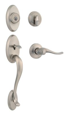 Shelburne Handleset with Avalon Lever - Deadbolt Keyed One Side - featuring SmartKey