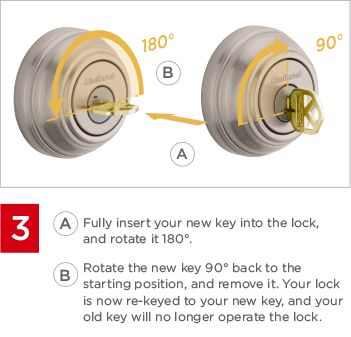 Fully insert your new key into the lock and rotate it 180 degrees. Then rotate the new key 90 degrees back to the starting position, and remove it. Your lock is now re-keyed to your new key, and your old key will no longer operate the lock.